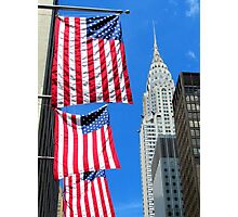 Stars and Stripes at Chrysler, New York City  Photographic Print