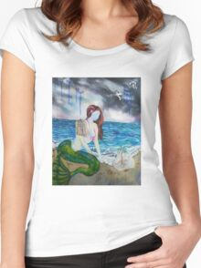 Into the Waves Original Oil Painting Prints Women's Fitted Scoop T-Shirt