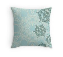 Abstract design with green geometric arabesque snowflakes Throw Pillow