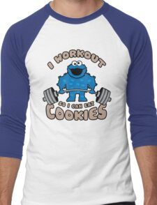 I Workout So I Can Eat Cookies - Cookie Monster Men's Baseball ¾ T-Shirt
