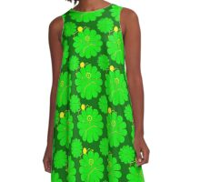 Green Flower Friends A-Line Dress