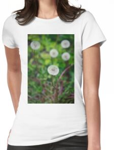 white dandelions on green background Womens Fitted T-Shirt