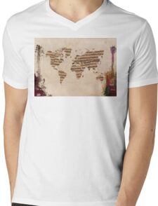 Music world map Mens V-Neck T-Shirt