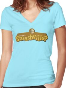 Wanna go to Smashville? Women's Fitted V-Neck T-Shirt