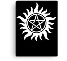 Anti-Possession Tattoo Symbol White Version - Supernatural Inspired Canvas Print