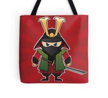 Samurai cartoon illustration on red sunburst background Tote Bag