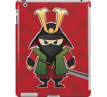 Samurai cartoon illustration on red sunburst background iPad Case/Skin