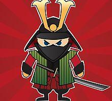 Samurai cartoon illustration on red sunburst background by BlueLela