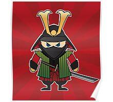 Samurai cartoon illustration on red sunburst background Poster