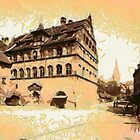 A digital painting of  an Old house, Nuremburg, Bavaria, Germany in the 19th century by Dennis Melling