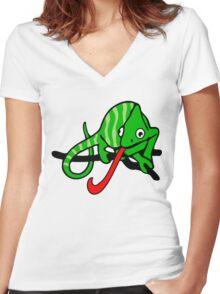 Süßes Chamäleon Women's Fitted V-Neck T-Shirt