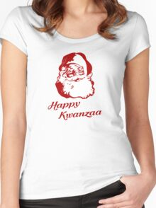Happy Kwanzaa Christmas Santa Claus Women's Fitted Scoop T-Shirt