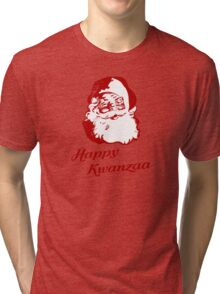 Happy Kwanzaa Christmas Santa Claus Tri-blend T-Shirt