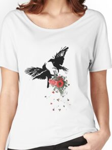 raven fighting over a bouquet Women's Relaxed Fit T-Shirt