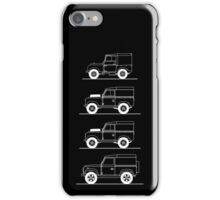 Evolution of Land Rover line art for dark colours iPhone Case/Skin