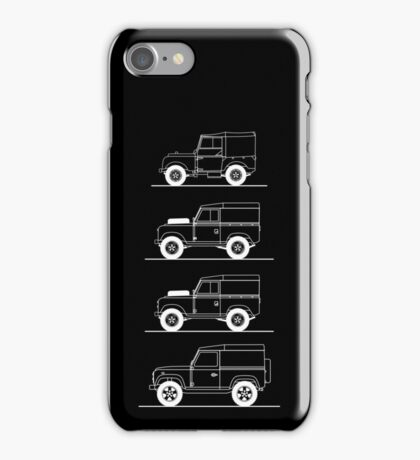 Evolution of Land Rover line art for dark colours iPhone Case/Skin