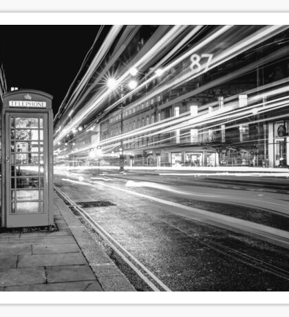 Black and White London Street at Night Sticker