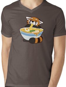 Red panda stealing bamboo from noodles Mens V-Neck T-Shirt