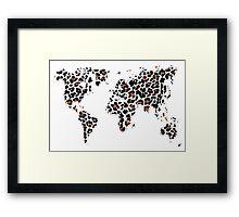 World map in animal print design, leopard pattern Framed Print