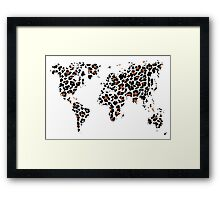World map in animal print design, leopard pattern Framed Print