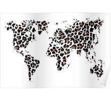 World map in animal print design, leopard pattern Poster