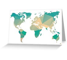 World map in geometric triangle pattern design Greeting Card
