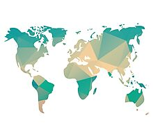 World map in geometric triangle pattern design Photographic Print