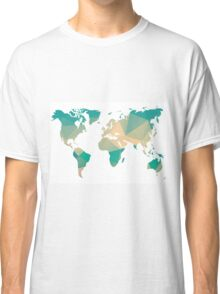 World map in geometric triangle pattern design Classic T-Shirt
