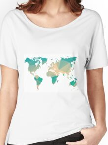 World map in geometric triangle pattern design Women's Relaxed Fit T-Shirt