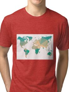 World map in geometric triangle pattern design Tri-blend T-Shirt