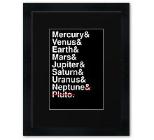 Helvetica Planets List Framed Print