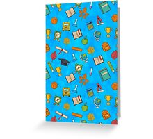 Back to school on blue background Greeting Card