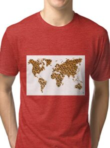 World map in animal print design, leopard pattern Tri-blend T-Shirt