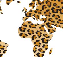 World map in animal print design, leopard pattern Sticker