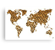 World map in animal print design, leopard pattern Canvas Print