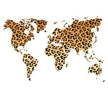 World map in animal print design, leopard pattern Photographic Print