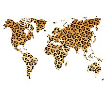 World map in animal print design, leopard pattern Photographic Print