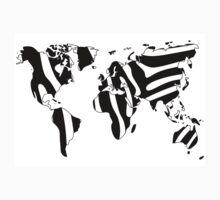 World map in animal print design, zebra pattern T-Shirt