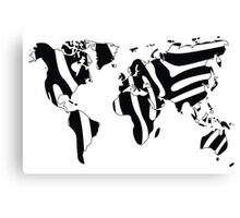 World map in animal print design, zebra pattern Canvas Print