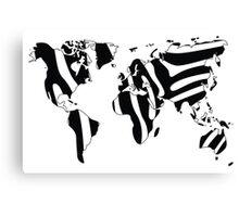 World map in animal print design, zebra pattern Canvas Print