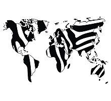 World map in animal print design, zebra pattern Photographic Print