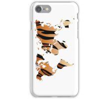 World map in animal print design, tiger pattern iPhone Case/Skin