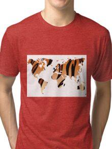 World map in animal print design, tiger pattern Tri-blend T-Shirt