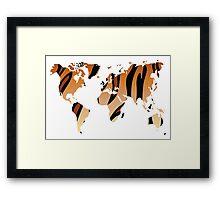 World map in animal print design, tiger pattern Framed Print