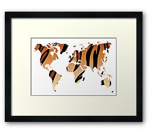 World map in animal print design, tiger pattern Framed Print