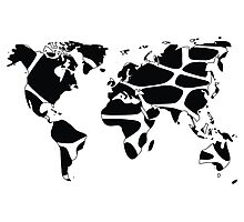 World map in animal print design, black and white Photographic Print