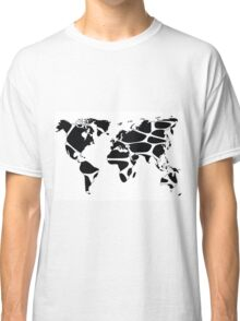 World map in animal print design, black and white Classic T-Shirt