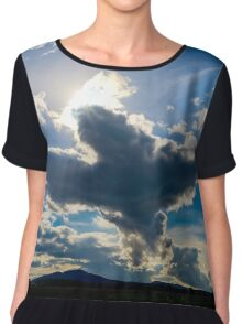 Big bird figure of clouds in the sky, autumnal weather Chiffon Top
