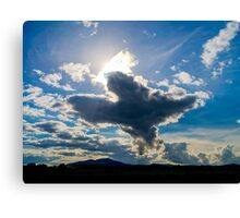 Big bird figure of clouds in the sky, autumnal weather Canvas Print