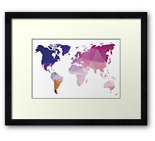 World map in geometric triangle pattern design Framed Print